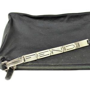 VTG Fendi Silver Spell Out Chain Black Nylon Sport